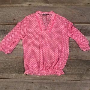 Sheer pink polka dot top